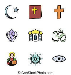 Religion culture icons set, cartoon style - Religion culture...