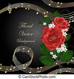Flowers with music notes. - Vector illustration with music...