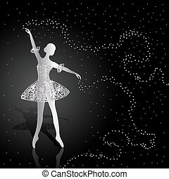 Silver ballerina on dark background. - Silver ballerina...
