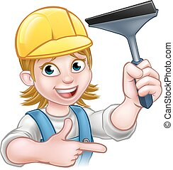 Window Cleaner Woman Cartoon Character - A window cleaner...