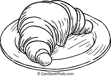 Croissant Pastry Vintage Retro Woodcut Style