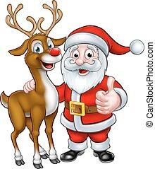 Santa and Christmas Reindeer - A Santa and his Christmas...