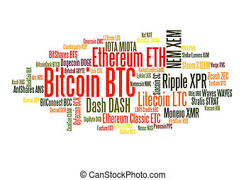 Crypto currencies word cloud - Crypto-currencies with a...
