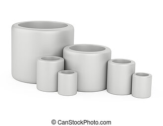 Pipe fittings set on a white background.