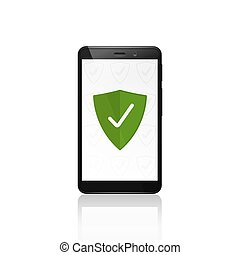 Mobile phone security shield protection. Vector design.