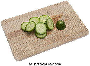 Slices of Fresh Cucumber - Sliced of fresh cucumber isolated...