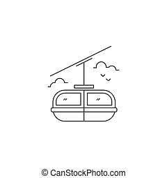 Cable car line icon - Cable car vector thin line icon. Black...