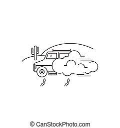 Jeep safari line icon - Jeep safari vector thin line icon....