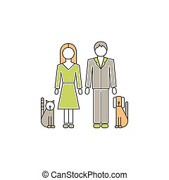 Family with pets line icon - Vector thin line icon, family...