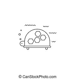 Turtle line icon - Turtle vector thin line icon. Black on...