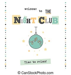 Night club banner - Vector vertical banner template. Disco...