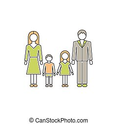 Family with children line icon - Vector thin line icon,...