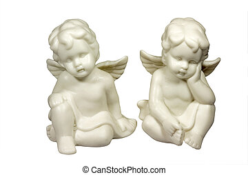 Angels - Two ceramic little angels isolated on White can be...