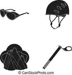 Helmet, goggles, wedge safety, peaks in the clouds.Mountaineering set collection icons in black style vector symbol stock illustration web.