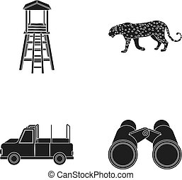 Observation tower for the hunter, leopard, hunting machine, binoculars. African safari set collection icons in black style vector symbol stock illustration web.
