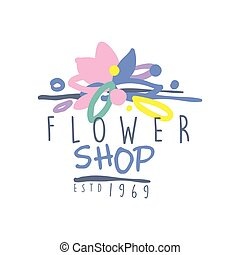 Flower shop estd 1969 logo template colorful hand drawn...
