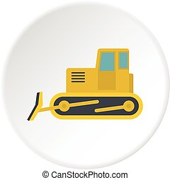 Yellow bulldozer icon circle - Yellow bulldozer con. Flat...