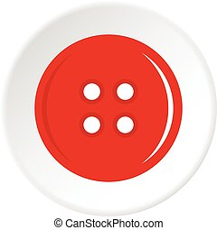 Red sewing button icon circle - Red sewing button icon in...