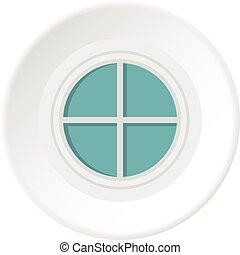 White round window icon circle - White round window icon in...