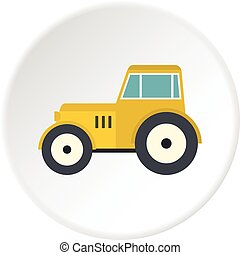 Yellow tractor icon circle - Yellow tractor icon in flat...