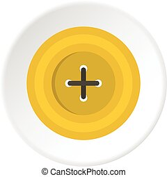 Yellow round sewing button icon circle - Yellow round sewing...