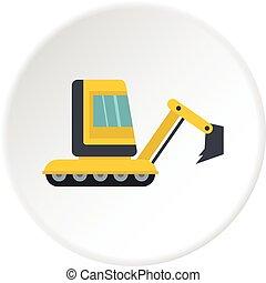 Yellow mini excavator icon circle - Yellow mini excavator...