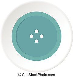 Light blue sewing button icon circle - Light blue sewing...