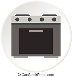 Gas stove icon circle - Gas stove icon in flat circle...