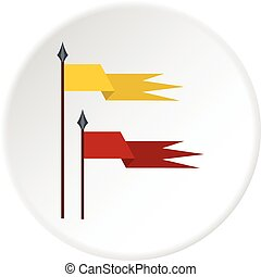 Gold and red medieval flags icon circle - Gold and red...