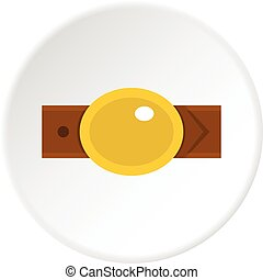 Belt with gold oval shaped buckle icon circle