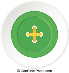 Green sewing button icon circle - Green sewing button icon...