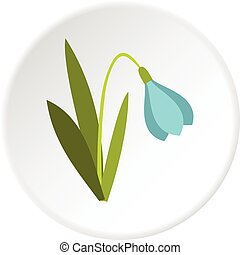Snowdrop icon circle - Snowdrop icon in flat circle isolated...