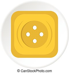 Yellow square sewing button icon circle - Yellow square...