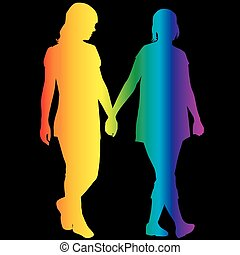 Lesbian women silhouettes in rainbow colors