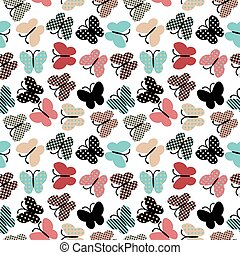 Vintage background with stylized butterflies