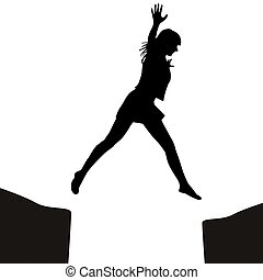 Woman jumping over a gap - Woman silhouette jumping over a...