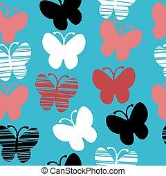 Stylized butterflies seamless pattern