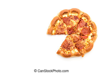 Homemade Pepperoni Pizza on white background