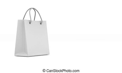 Shoping bag and percent on white background. Isolated 3D...