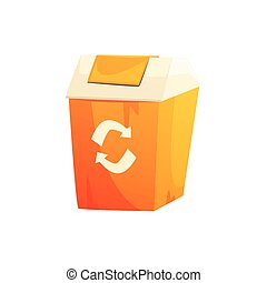 Orange garbage can with recycling sign, waste processing and...