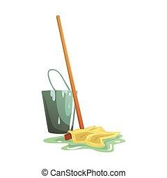 Bucket and floor cleaning broom or mop cartoon vector Illustration