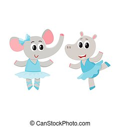 hippo and giraffe, puppy and kitten characters dancing ballet together