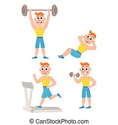 Young man doing sport exercises, training, weightlifting,...