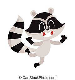 Cute little raccoon character jumping from happiness and...