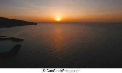 Beautiful sunset or sunrise over sea, aerial view....