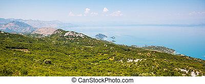 Panoramic view of Skadar lake (Skadarsko jezero) in a...