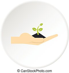 Plant in hand icon circle