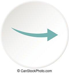 Curve arrow icon circle - Curve arrow icon in flat circle...