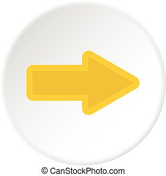 Cursor to right icon circle - Cursor to right icon in flat...
