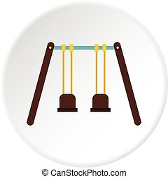 Playground swings icon circle - Playground swings icon in...